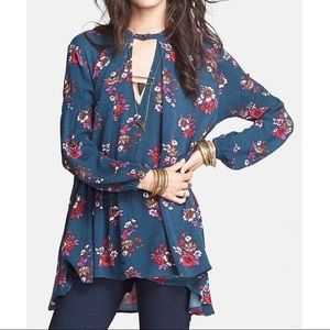 free people floral trapeze long sleeve tunic small